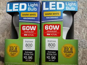 2 x 'LED' Warm White Light Bulbs 60w [8w actual] // [2 Bulbs]