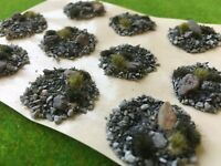 Rock Floor Scenic Base Toppers -Model Scenery Wargames Bases Grass Tufts stones