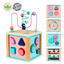 Activity Cube Toys Baby Educational Wooden Bead Maze Shape Sorter for Toddlers