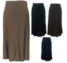 New Ladies Plain Elastic Waist Panel Godet Calf Midi Length Skirt Flared Work