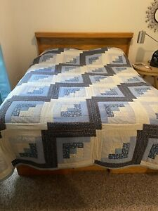 """Queen Amish Handmade Chambray Blue Log Cabin Quilt  86""""x102"""" Needs Restored"""