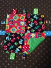 Boy Red/Black Blocked Monster Toss Cotton/Minky Baby Tag Ribbon Security Blanket