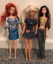Mattel BARBIE Doll Blonde 1966, Red Head Disney Doll, & Dark Haired 1999 Mattel