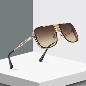 Oversized Square Aviators Sunglasses Metal Bar Retro Mens Women Designer Fashion