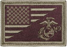 US Flag American USMC Globe & Anchor Marines Olive Drab Patch Hook & Loop