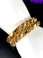 SIGNED MONET GLOSSY THICK GOLD-TONE CUBAN CURB CHAIN DESIGN LINK BRACELET