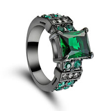 Green Emerald CZ Engagement Ring Black Rhodium Plated Women's Jewelry Size7 Gift
