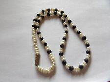 CULTURED PEARL & DEEP BLUE SUNSTONE / SANDSTONE SPARKLY NECKLACE MA93