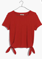 New Madewell Texture & Thread XL Modern Side Tie Top Tee Bright Poppy Red NWT