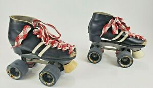 Vintage Dominion Canada Black Leather Roller Skates Quad Carrera Wheels