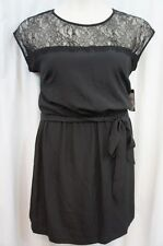 Guess Dress Sz 10 Black DAHLIA Lace Neckline Blouson With Sash Cocktail dress