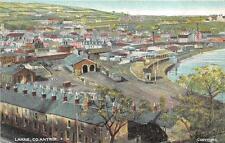LARNE CO ANTRIM IRELAND TRAIN DEPOT AERIAL VIEW POSTCARD (c. 1910)