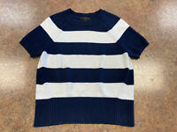 J. Crew Women' Dark blue white stripe short sleeve knit sweater size XS