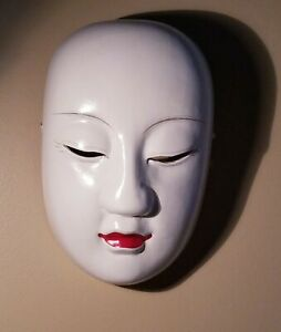 White Mask Wall Art Sculpture Hand Carved Wood Asian Decor PEOPLE'S REP. CHINA