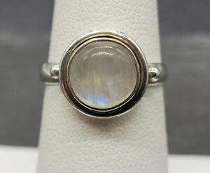 Vintage 925 Sterling Silver Round Moonstone Ring Size 6.25 BENT BAND