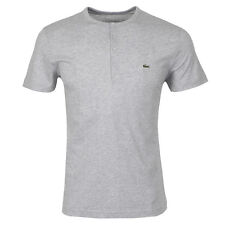 Lacoste Authentic Men's SS Pima Cotton Henley T-Shirt, Silver Chine, 4/S, NWT