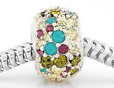 AUTHENTIC CHAMILIA STERLING SILVER MULTICOLOR SWAROVSKI CRYSTALS EUROPEAN BEAD
