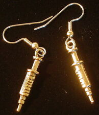 Syringe Earrings Nurse Phlebotomist Blood Lab Technicians 24 Karat Gold Plate
