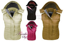 LADIES WOMENS QUILTED HOODED SLEEVELESS GILET BODYWARMER JACKET SIZE 8 10 12 14