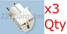 3PK Grounded Universal Plug Adapter Germany France Europe Outlet Adaptor Plugs