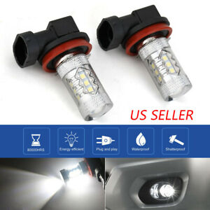 For Honda Accord Civic 2006-2019 H8 H11 Fog Light Projector Lens White LED Bulbs