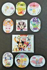 JAPAN USED 2013 DISNEY 80 YEN 10 VALUE VF COMPLETE SET SC # 3573 a - j