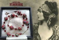 VINTAGE ART DECO VENETIAN WEDDING CAKE GARNET RED BEADS NECKLACE BEAUTIFUL GIFT