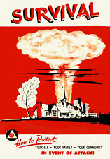 1950s Nuclear attack survival poster 13 x 19 Giclee Print