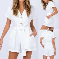 Women White V-Neck Short Sleeve Cotton Linen Jumpsuit Summer Casual Short Romper