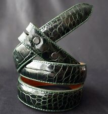 "PAT AREIAS Green American Alligator 1"" Belt Strap Size 32"