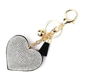 Heart Shape Tassel Keychain With Rhinestones Charm Accessory Automotive Cellphon