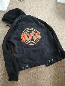 Mens AC/DC Patch New Look Black Denim Jacket Medium With Jersey Hood / Sleeves