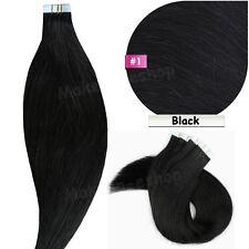 20/40pcs Tape in 100% Remy Human Hair Extensions Black Brown Blonde EP Virgin