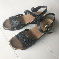 Clarks Black Ankle Strap Bendables Leather Sandals Size 9N