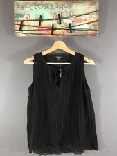 Madewell Women's Pleated Black Tank Top Shirt Sleeveless Sz XXS NWT $78