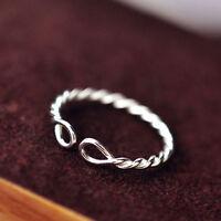 925 Silver Vintage Twist Rings For Women Men Wedding Jewelry Adjustable Ring