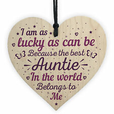 Keepsake Wooden Heart Plaque Birthday Thank You Gifts for Auntie Aunty Aunt Mum