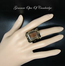 Large 9K Gold 9ct Gold Smoky Quartz Ring Size N 15g 50ct