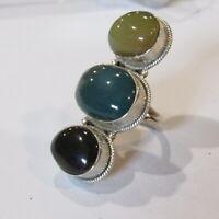Sterling Silver Knuckle Ring Southwestern Onyx Jasper .925 Stone Cabochons 13.8g