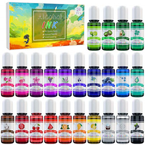 Alcohol Ink Set - 24 Vibrant Colours Alcohol-Based Ink for Resin Petri Dish - -