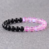 Men's Women Natural Rose Light Moonstone Gems Round Bead Stratch Energy Bracelet