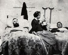 """Nurse Anne Bell w/h Wounded Soldiers Union Hospital 8""""x 10"""" Civil War Photo #113"""