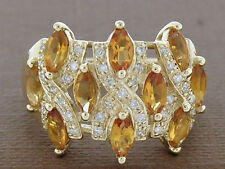 R248- SUPERB Genuine 9ct Solid Gold Natural Diamond & Citrine WIDE Ring size N