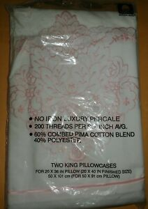 NEW 2 Cannon Royal Family Court Of Versailles KING Pillowcases Pink Embroidery