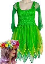 Women's Adult Fairy Dress Costume Tinkerbel Green and Yellow & Free Garland