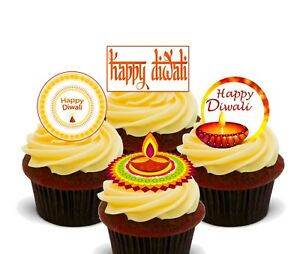 Diwali Festival Pack of 12 Edible Cup Cake Toppers, Fairy Bun Decorations