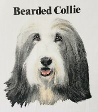 Vintage 1990's Bearded Collie Dog T Shirt 50/50 Blend Made In Usa Size L