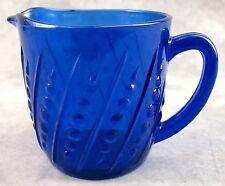 COBALT BLUE GLASS BEADED HOBNAIL 20 OUNCE MILK PITCHER