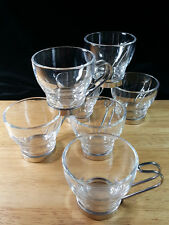 "7 Vitrosax Espresso Demitasse Clear Glass Cups 2 1/2 ""  Wire Stainless Handles"