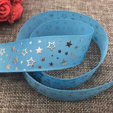 DIY 5yards 25mm print Five stars Hot silver Grosgrain Bow Ribbon Hair Sewing #01